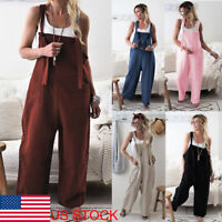 US Women Wide Leg Strap Jumpsuit Casual Dungaree Harem Trousers Overall Pant