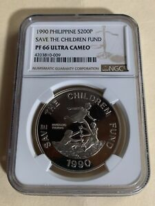 PHILIPPINES 1990 200 PISO SAVE THE CHILDREN FUND COMMEM SILVER NGC PF66 UC