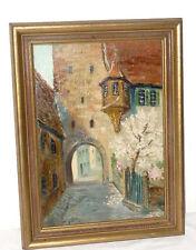 Antique Oil Painting Hugo John Dubai Pfalz Rothenburg Tauber View Picture