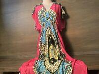 WOMENS METROPOLITAN DRESS PAISLEY COLORFUL FUCHIA SWIM COVER, LOUNGE SIZE 1X