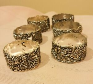 6xVintage Grape Napkin ring silver plated antique finish embossed grape &leaves