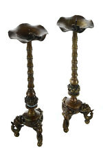 Pair of Antique Japanese Bronze Frog Candlesticks