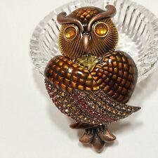 Joan Rivers Large OWL Brooch Pave Multi Color Rhinestone Enamel - Stunning NEW