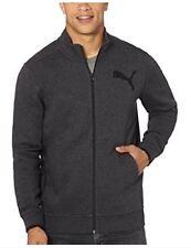 NWT Puma Men's Full Zip Logo Fleece Track Jacket Kangaroo Pockets Charcoal S