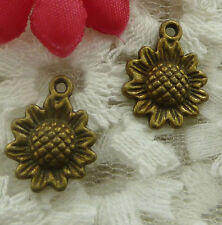 free ship 110 pieces bronze plated sunflower charms 16x12mm #2208