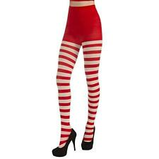 SEXY SANTA TIGHTS RED WHITE STRIPED CHRISTMAS OPAQUE FANCY DRESS STOCKINGS XMAS