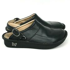 Alegria SEV-601 Womens EU 41 US 10.5 - 11 Black Leather Mules Clogs with Buckle