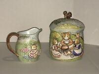 Takahashi San Francisco Ceramic Bunny Friends Cookie Jar And Milk Jug - EUC