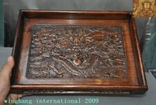 Old Chinese Dynasty Huanghuali Wood Carved Dragon Totem tray Pallets Dish Plate