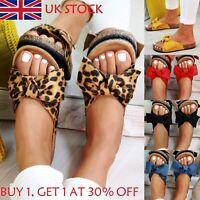 UK Womens Slip On Sandals Bow Flat Mule Summer Sliders Espadrille Shoes Sizes 1#