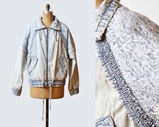 Vintage 80s Stone Acid Wash Bleached Lace Denim Jacket Zip Up Drawstring M