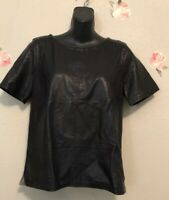 J Crew Collection Leather Front Top in Dark  Sz Small S Retail $345  Style 04320