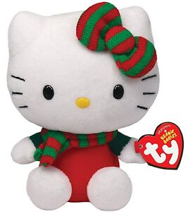 """TY ** HELLO KITTY ** Red Christmas Outfit Red & Green Hair Bow & Scarf 6"""" (15cm)"""