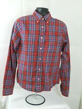 ABERCROMBIE & FITCH Plaid Button Up Shirt - Mens L Athletic Muscle Fit Red
