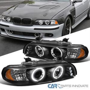For BMW 96-03 E39 525i 528i 530i LED Halo Projector Headlights Head Lamps Black