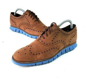 Cole Haan Zerogrand Men Sz 9M Brown Suede Blue Soles Wingtip Oxford Shoe C29673