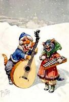 CHRISTMAS, CATS, THIELE, MUSIC, PLAYING MANDOLIN AND XYLOPHONE, FRIDGE MAGNET