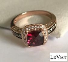 LeVian Rhodolite Garnet Diamond Ring 14K Strawberry Gold