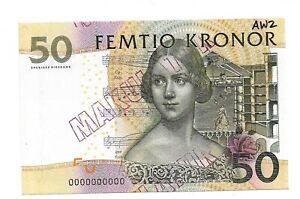 Sweden p-62 , UNC, 50 Kronor, 1996 , SPECIMEN !!