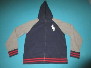 POLO RALPH LAUREN Navy Gray Full Zip Hoodie Jacket Size Large L 14/16