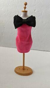 Vintage Barbie Hot Pink Off the Shoulder Dress With Big Black Bow