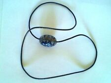 Real Leather Cord Agate Necklace No Clasp Black Dragon Veins Oval Cabochon