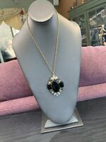 Vintage Rhinestone Black Clear Rhinestone Pendant necklace  Gold  Chain 20""
