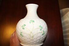 Irish Belleek Shamrock Basketweave Vase Made in Ireland