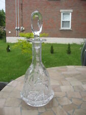 "DECANTER CRYSTAL  PINWHELL FOR COGNAC WHISKY CLEAR GLASS 11.75""IN TALL"