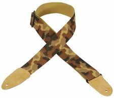 Levy's Cotton Guitar Strap with Leather Ends Desert Camo