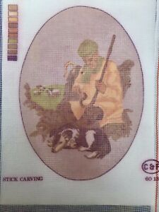 """Printed Tapestry Needlepoint Canvas - Stick Carving C&F 8x12"""" Traditional Craft"""