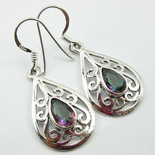 925 SOLID Silver Rainbow Flash Real MYSTIC TOPAZ Ladies CELTIC Earrings 1.5""