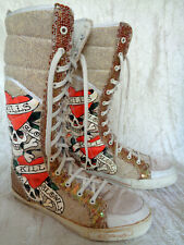 Ed Hardy  Love Kills Slowly Skulls Canvas Skateboard Boots  Womens US Size 9