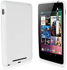 BIANCO TPU GEL SKIN CASE Cover, Pellicola & Stilo Retrattile Per Asus Google Nexus 7