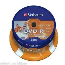 VERBATIM DVD-R INKJET PRINTABLE 25 PACK SPINDLE CAKE /  16X SPEED / 4.7GB DATA
