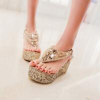 Ladies Womens Platform Wedge Flip flops Sandals New diamante Party Beach Shoes