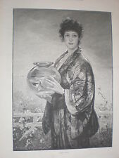 Gold Fish Davidson Knowles 1893 old print woman in Kimono with goldfish bowl