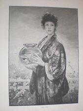 Poisson Or Davidson Knowles 1893 OLD PRINT femme en kimono avec poisson rouge