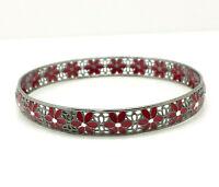 """Fine Red Enamel Italy Sterling Silver 925 Bracelet 11g 7.75"""" FOX016"""