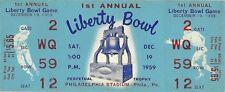 1959 Liberty Bowl, Penn St. vs Alabama UNUSED FULL TICKET