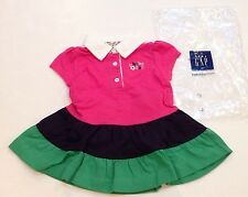 New Baby Gap 0-3 Months Pink Green & Navy Blue Rugby Polo Ruffle Dress