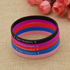 Medical Alert Type 1 Diabetic Wristband Unisex Bracelet Bangle Multicolor New