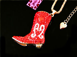 Betsey Johnson Charm Red Crystal Boot Shoes Heart Pendant Chain Sweater Necklace