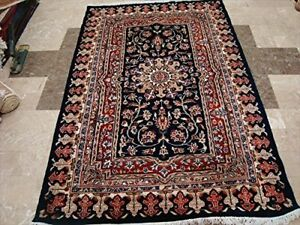 New Mid Night Blue Love Flowers Area Rug Hand Knotted Wool Silk Carpet (6 x 4)'