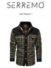 Men's NEW SERREMO Wanderer Flannel Jacket XL Plaid Fleece Lined Corduroy Coat