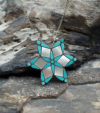 New listing Vintage Zuni Sterling Silver Turquoise MOP Inlay Star Pendant Necklace Brooch...