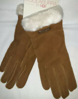 NWT KOOLABURRA BY UGG SUEDE GLOVES SIZE L Faux Fur Lining Chestnut Brown