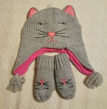 NWOT Cat Lined Knit Hat and Mittens Size S 12/24 MTHS The Children's Place