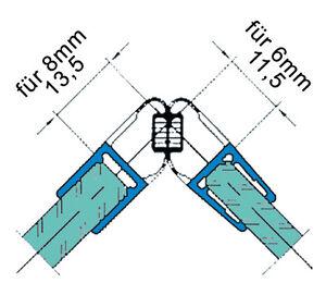 Duschdichtung Magnetdichtung Magnetprofil 90°, 6 - 8 mm Glasstärke