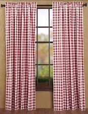 New Farmhouse Retro Diner Picnic Buffalo Red White Check Drape Curtain Panels 84